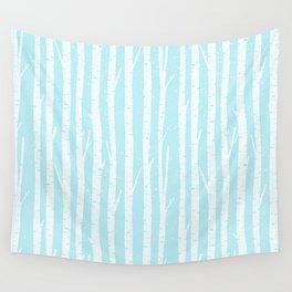 White winter birch forest- With snow covered trees- pattern on teal Wall Tapestry
