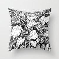 sunflowers Throw Pillows featuring Sunflowers by Natalie Berman