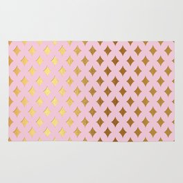 Queenlike- pink and gold elegant quatrefoil ornament pattern Rug