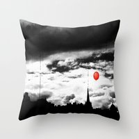gotham Throw Pillows featuring Gotham city by Anna Andretta