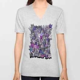 Ultraviolet Gemstone Cats Unisex V-Neck
