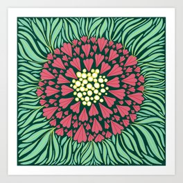 Pink and green florals Art Print