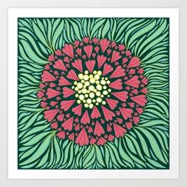 Pink and green florals Art Print