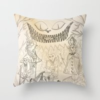alice in wonderland Throw Pillows featuring Wonderland  by Jgarciat