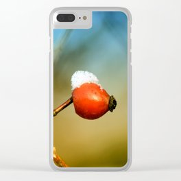 little rosehip with snowcap Clear iPhone Case