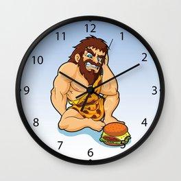 caveman fast food Wall Clock