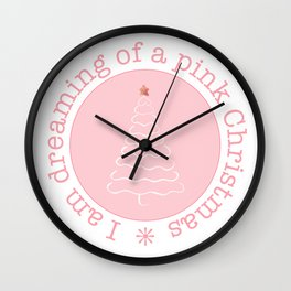 Dreaming of a pink Christmas Wall Clock
