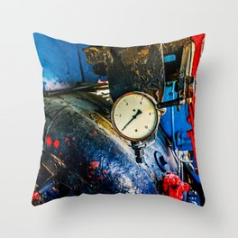 Water Boiler And A Steam Pressure Gauge In A Vintage Steam Locomotive Cabin Throw Pillow