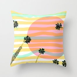 Palm Tree Vibes & Sunburnt Minds Throw Pillow