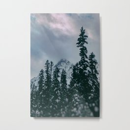 Cascade Winter Mountain Metal Print