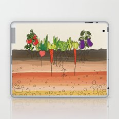 Earth soil layers vegetables garden cute educational illustration kitchen decor print Laptop & iPad Skin