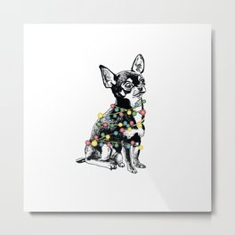 Chihuahua dog with colorful festoon Metal Print