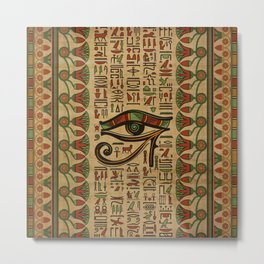 Egyptian Eye of Horus Ornament on papyrus Metal Print