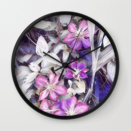 flowers clematis Wall Clock