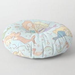 Cute Vintage Style Bff Mermaids Seamless Pattern, Blue Floor Pillow