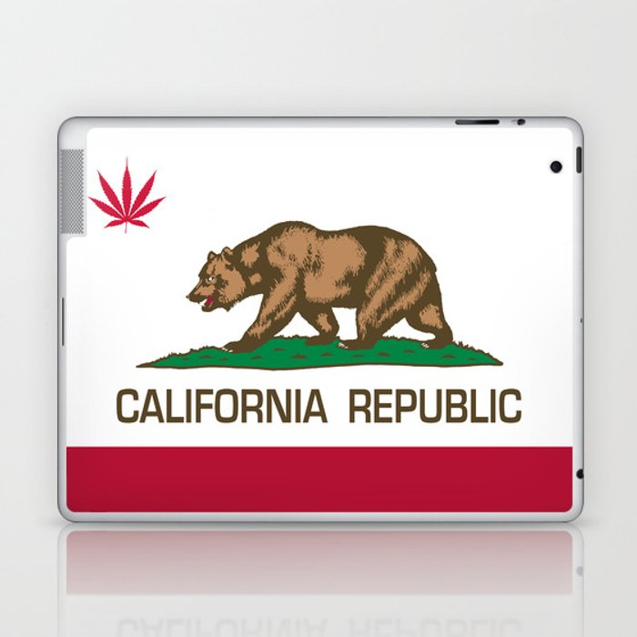 California Republic state flag with red Cannabis leaf Laptop & iPad Skin