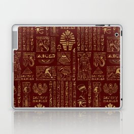Egyptian hieroglyphs and symbols gold on red leather Laptop & iPad Skin