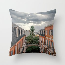 The Colorful Buildings and Palm Trees in New Orleans Throw Pillow