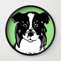 border collie Wall Clocks featuring Border Collie Printmaking Art by Artist Abigail