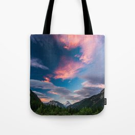 Amazing sunset clouds over mountain Mangart Tote Bag