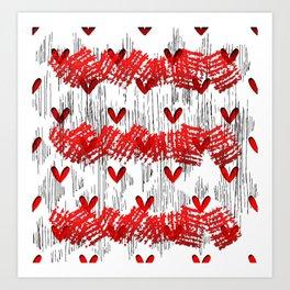 Red Grunge Pop Art Art Print