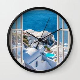 Santorini Greece | OPEN WINDOW ART Wall Clock