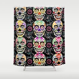 Happy calaveras Shower Curtain