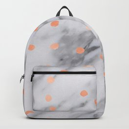 Rose Gold Pink Dots Marble Pattern Backpack