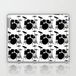 Drumset Pattern (Black on White) Laptop & iPad Skin