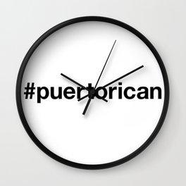 PUERTO RICAN Hashtag Wall Clock