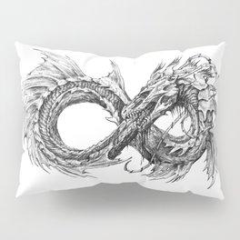 Ouroboros mythical snake on transparent background   Pencil Art, Black and White Pillow Sham