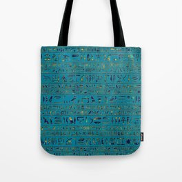 Egyptian hieroglyphs on teal leather texture Tote Bag