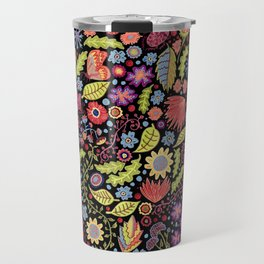 Happy Floral Black Travel Mug
