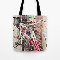 bicycles Tote Bags featuring Bicycles by Yolanda Méndez