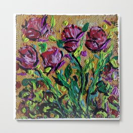 Red Rose Pink Roses Rising and Blooming in the Warm Golden Sun by annmariescreations Metal Print