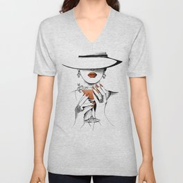 Lady In The Hat Unisex V-Neck