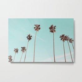 Palm Trees Teal Gold Metal Print