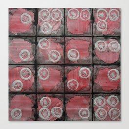 Black Grid Red Stripes Canvas Print