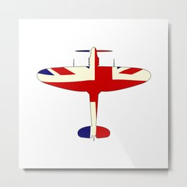 World War 2 Fighter Union Jack Silhouette Metal Print