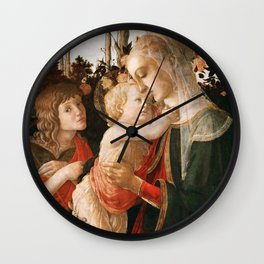 """Sandro Botticelli """"Madonna and Child with St. John the Baptist"""" Wall Clock"""