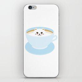 Cute Kawai cat in blue cup iPhone Skin