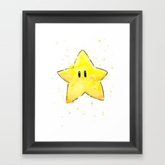 Invincibility Star Mario Watercolor Geek Gamer Art Framed Art Print