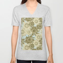 Rococo Brocade Sunflowers (golden straw on mint) Unisex V-Neck
