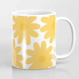 Crayon Flowers Cheerful Floral Pattern in Mustard Yellow and White Coffee Mug