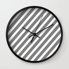 Grey Diagonal Stripes Wall Clock