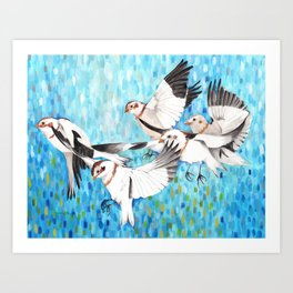 Snow Buntings Abstract Blue Background Art Print