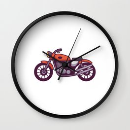 Red Motorcycle Wall Clock