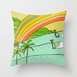 Surf Paradise Rainbow of Happiness Throw Pillow