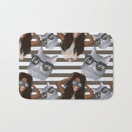 African American Girl With Glasses Friyay And Cat With Glasses Friyay Pattern Bath Mat