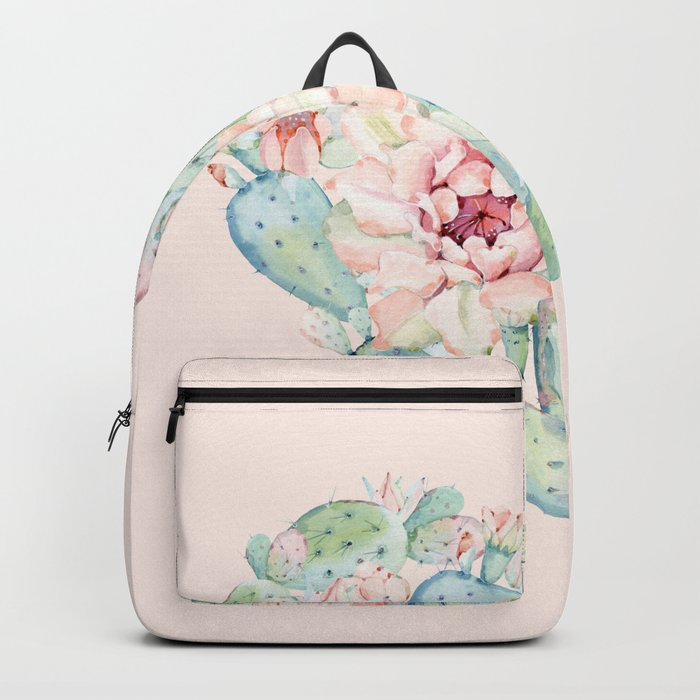 Cactus Rose Heart on Pink Backpack